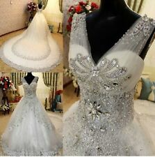 Luxurious Ball Wedding Dress Layers V-neck Crystal Big Train 2015 Cheap Top Made