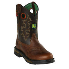 John Deere Youth Boys Copper Leather Saddle Vamp Cowboy Boots