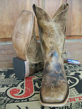 Men's Justin Bent Rail Tan Road Square Toe Western Boots, #BR734 DS