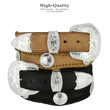 "The Silver City - Western Concho Genuine Leather Jean Belt, 1-1/2"" Wide"