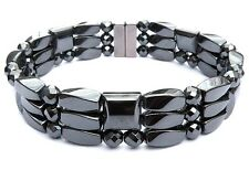 Men's Women's Powerful ALL Magnetic Hematite FACETED Bracelet Anklet 3 Row Clasp