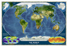 World Map HD Earth 3D Full Wall Mural Large Print Wallpaper Home Decal Deco Kids