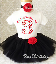 Little Red Ladybug Lady bug 3rd Third Birthday Tutu Outfit Set Shirt Girl Party
