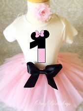 Minnie Mouse Light Pink Baby Girl 1st First Birthday Tutu Outfit Shirt Set Party