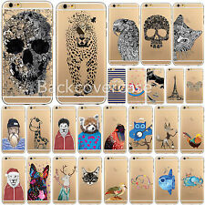 Soft Gel Silicone Thin Transparent Case Cover For iPhone4 5 6Plus Animal Pattern