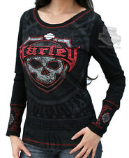 Harley-Davidson Womens Distressed Paisley Skull Black Long Sleeve T-Shirt