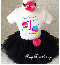 Black Pink Cupcakes Rainbow Baby Girl 1st First Birthday Tutu Outfit Shirt Set