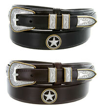 "Gold Star Western Oil Tanned Genuine Leather Ranger Belt 1-3/8"" Wide Black Brown"
