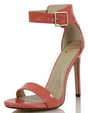 Delicious Canter Salmon Faux Leather Patent Single Sole Ankle Strap Heels