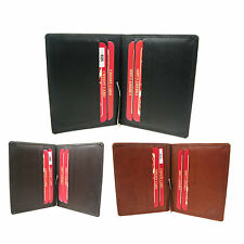 Mens Small Real Leather Slim Fold Credit Card Holder Wallet 826
