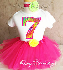 Tie Dye Number Rainbow Pink Girl 7th Birthday Tutu Shirt Outfit Set Party Dress