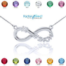 Sterling Silver Infinity #1 MOM CZ Birthstone Necklace