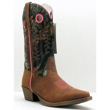 JOHN DEERE Womens Mossy Oak Camo Brown Snip Toe Western Leather Boots JD3746 NIB
