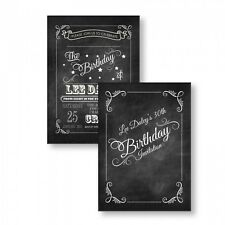 Personalised Birthday Party Invitations 21st 30th 40th 50th 60th 70th Chalkboard