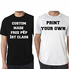 CUSTOM PRINT YOUR OWN DESIGN SHIRT T-SHIRT MENS TEE FUNNY GYM PARTY new white