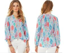$158 Lilly Pulitzer Silk Elsa Top Blouse Shirt 'Let Minnow' size S/Small NEW