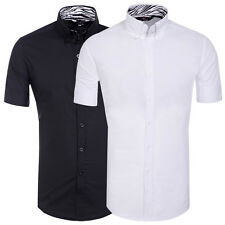 Stylish Mens Short Sleeve Casual Shirts Dress Shirt Button-up Formal Shirts S~XL