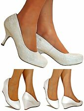 Ladies Sparkly Low Heel Ivory/White Party Bridal Heel Court Shoes Pumps Size
