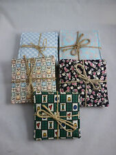 HANDMADE FABRIC DRINK COASTERS SET OF 4 - 5 PATTERNS TO CHOOSE FROM
