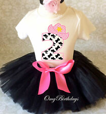 Cowgirl Cow Print Black pink 2nd Birthday Shirt Tutu Outfit Set girl party dress
