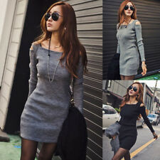 Women long Sleeve Slim Fit Dress Knitwear Package hip Bodycon