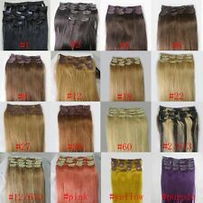 "AAA+ 20""-36"" Remy Human Hair 16-21 Clips In Extensions Straight 105g-140g UK"