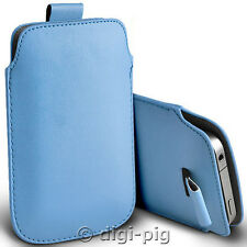 BABY BLUE (PU) LEATHER PULL TAB POUCH CASE FOR MAIN RANGE OF MOBILE PHONES