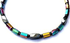 Men's Womens 100% Magnetic Hematite Powerful Necklace RAINBOW FACETED AAA