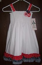 NWT Rare Editions WHITE Patriotic SUNDRESS  Red White Blue Ruffle Size 4T or 6X