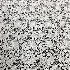 Paisely Guipure Venice French Lace Embroidery Fabric White Gold Peach Lilac