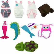 Newborn Baby Girl Boy Costume Hats Clothes Photo Photography Prop Crochet Knit
