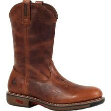"Rocky RIDE 11"" Waterproof Distressed Brown Leather Round Toe Work Boots 4181 NIB"
