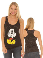 Mickey Mouse Black Sequin Back Racer Tank Top