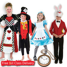 Kids Alice in Wonderland Theme Fancy Dress Costumes Girls Alice Boys Mad Hatter