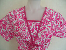 XS S M L XL 2XL BREAST CANCER PINK RIBBONS PAISLEY WHITE DARK PINK SCRUB TOP