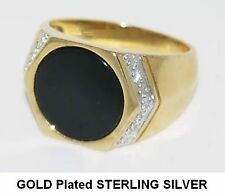 BLACK AGATE SIGNET RING GOLD PLATED STERLING SILVER*BRAND NEW*SIZES R, S & U