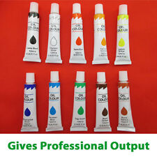 10 OIL PAINTS SET- Artists Kit Painting Tubes Canvas Art Craft Assorted Colours