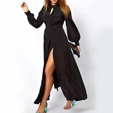 17 - 1XL 2XL 3XL Plus Size Long Sleeves Pleated Slit Evening Cocktail Maxi Dress