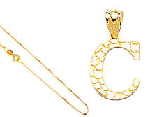 """10k Gold Yellow Alphabet Initial Letter A to Z Pendant,Charm,18"""" Gold Box Chain"""