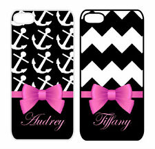 Customized B&W Damask Name w/Pink Bow Apple iPhone Case 4/4S 5/5S 6/6 Plus M24