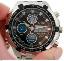 NEW QUAMER MILITARY SPORT STAINLESS STEEL ALARM CHRONO WATCH WITH DISPLAY TIN