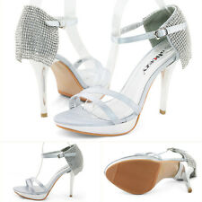 SHOEZY 2015 womens silver prom strappy crystal high heel platform sandals US 8