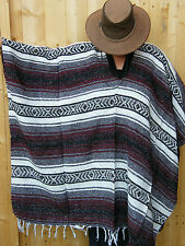 Authentic Traditional Mexican Poncho Woven Blanket Style Cowboy,Western,Festival
