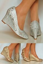 Womens Sparkly Diamante Wedge Low Mid Heel Evening Party Court Shoes Pumps Size