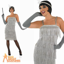 Adult Roaring Silver Flapper Costume Ladies 1920s Fancy Dress Charlston Outfit