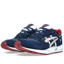 ASICS GEL SAGA NAVY BLUE/SOFT GREY RED SNEAKERS H4A4N-5010 SHOES BRAND NEW