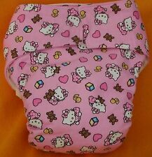 AIO (All In One) Adult Baby Reusable Cloth Diaper S,M,L,XL Hello Kitty Baby/Pink