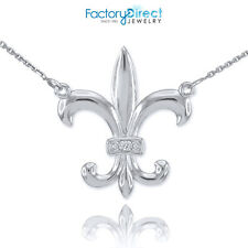 14k White Gold Diamond French Fleur-de-Lis Stylized lily Flower Necklace