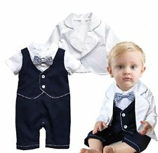 Baby Boy Wedding Christening White Tuxedo Suit Outfit+Jacket Set NEWBORN 0-18M