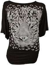 New Ladies Nauvelle Plus Size Leopard Sequin Print Batwing T-Shirt Top